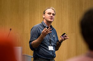 Prof Arjen Dondorp speaking at the 2014 Genomic Epidemiology of Malaria conference. Credit: Thomas Farnetti.