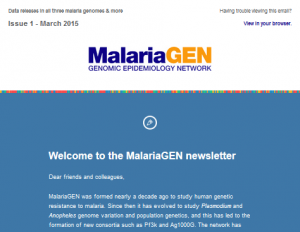 A welcome tops our first issue of the MalariaGEN quarterly newsletter.