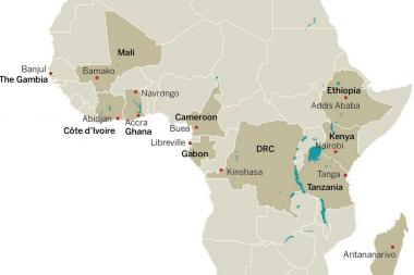 Map of PDNA study sites. Ghansah et al, 2014.