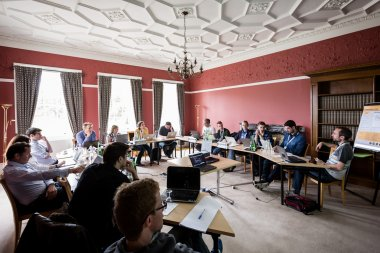 Working group, GEM 2015 retreat, Hinxton Hall, Wellcome Genome Campus Conference Centre. Photo credit: Thomas Farnetti.