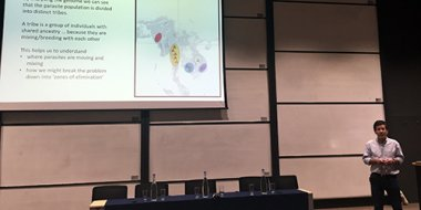 Prof Dominic Kwiatkowski presenting at World Malaria Day event in Oxford, 25 April 2016. Credit: Rachel Giacomantonio.