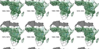 Figure 1: Changing spatial patterns of P. falciparum endemicity in sub-Saharan Africa since 1900. Credit: Reprinted by permission from Macmillan Publishers Ltd: Nature (doi:10.1038/nature24059), copyright 2017.