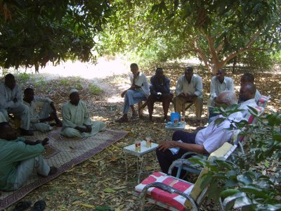 UmSalala village community discussion about ethics in research, Rahad River area, Sudan. Photo courtesy of Muntaser Ibrahim.