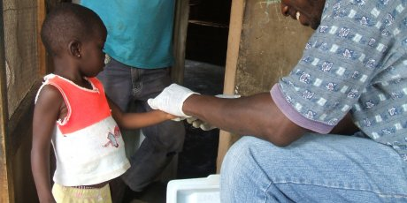 Taking blood samples in Gambia