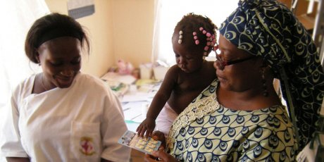 Mother, Child and Nurse with ACT - Effective case management remains one of the cornerstones of malaria prevention and control. Artemisinin-based combination therapies (ACTs) are used for the treatment of uncomplicated malaria.