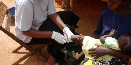Taking blood samples in in Kenya