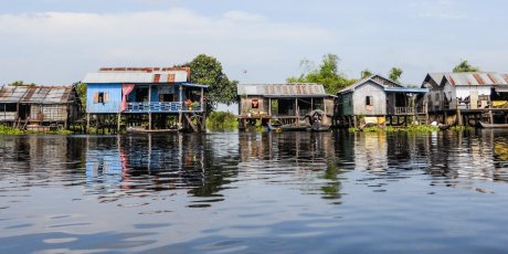 Stilt houses near the Prek Toak floating village, Sangker River, Cambodia. Photo credit: Dr Roberto Amato.